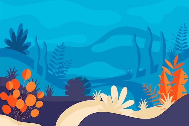 Illustration in flat design and bright colors nature landscape Premium Vector