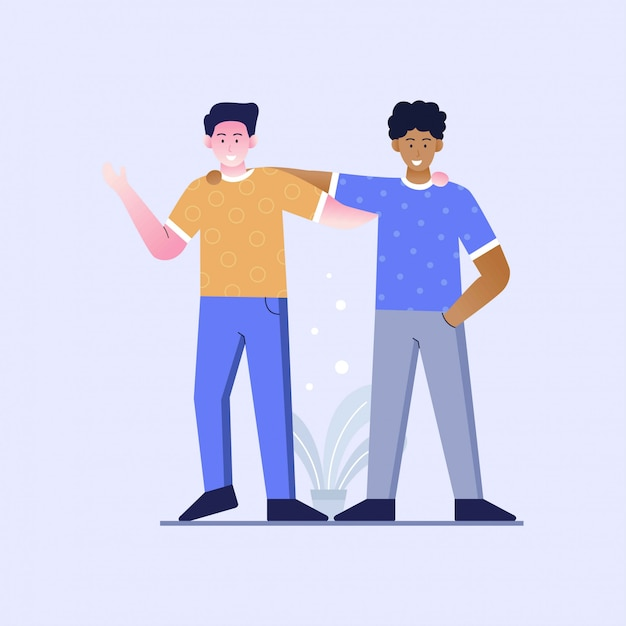 Illustration of flat design of friendship without racism Premium Vector