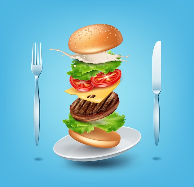 Illustration flying burger on plate with fork and knife Premium Vector