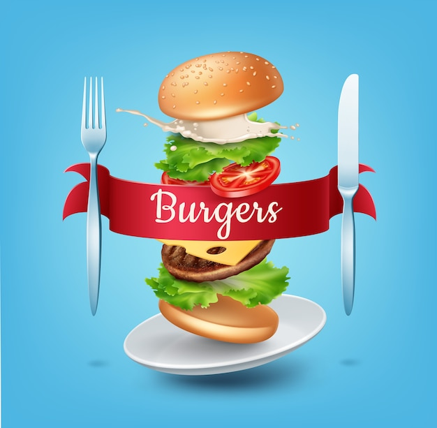 Illustration flying burger on plate with red ribbon fork and knife ads exploded hamburger Premium Vector