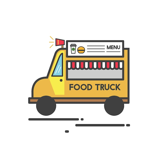 Illustration of a food truck Free Vector