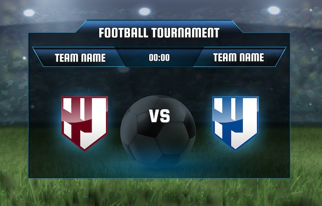 Illustration football scoreboard team a vs team b broadcast Premium Vector