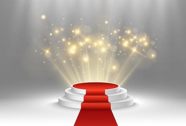 Иллюстрация для лауреатов. пьедестал или площадка для чествования призеров. Premium векторы