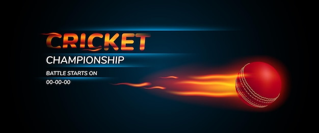 クリケットトーナメントのイラスト。プレイ用ボールとゲームアナウンスバナーのテンプレートテキスト Premiumベクター