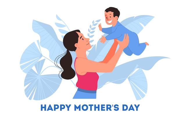 母の日のイラスト。幸せなお母さんが赤ちゃんを抱いて、母性を楽しんでください。 Premiumベクター