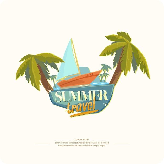 Иллюстрация для дизайна летних путешествий Premium векторы