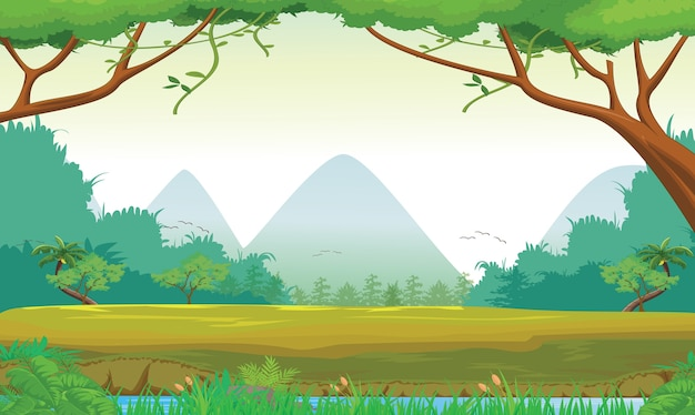 Illustration of forest scene at day time Premium Vector
