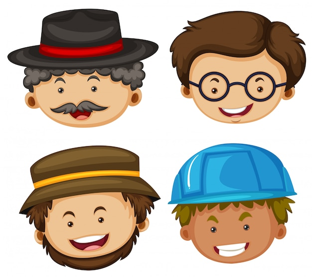 Illustration of four heads of male characters Free Vector