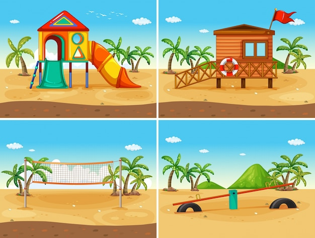 Illustration of four play station on the beach Free Vector