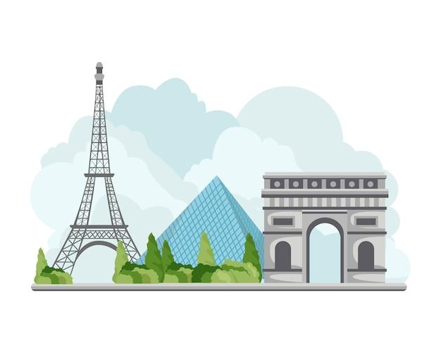 イラストフランス旅行のランドマーク Premiumベクター