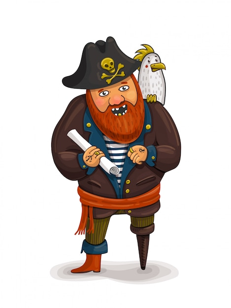 An illustration of a friendly cartoon pirate holding a treasure map Premium Vector