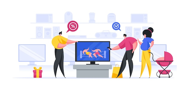 Illustration of friendly seller offering discount on modern tv Premium Vector
