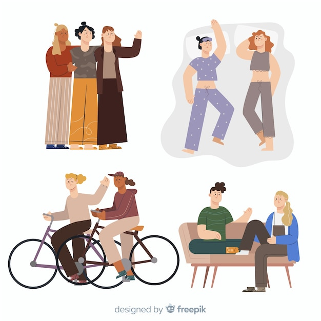 Illustration of friends spending time together Free Vector