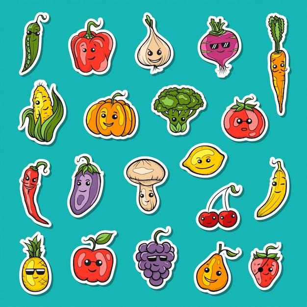 Illustration of fruit and vegetables set Premium Vector