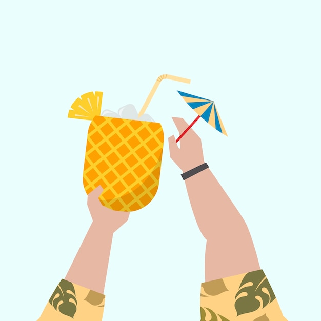 Illustration of a fruity cocktail Free Vector