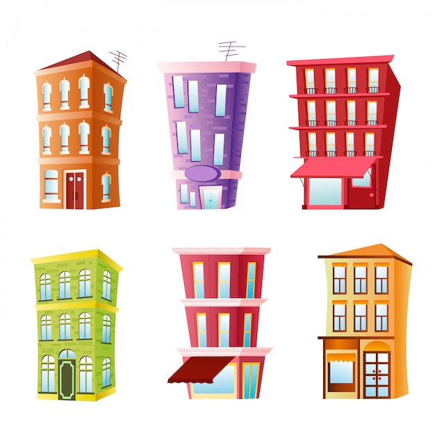 Illustration of funny buildings set. colorful and bright houses in cartoon flat comic style on white Premium Vector