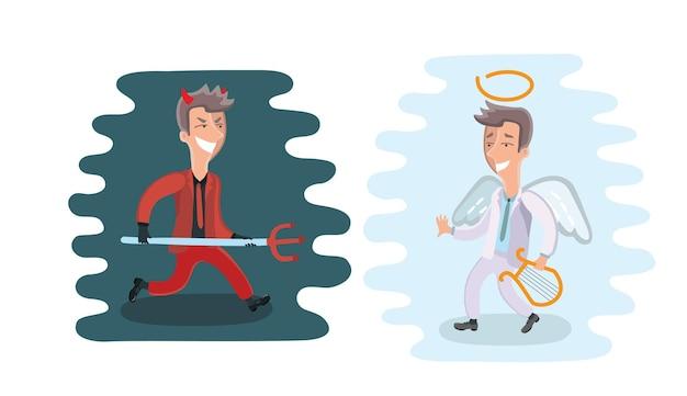 그림 재미있는 만화 천사와 악마는 양복을 입고 프리미엄 벡터
