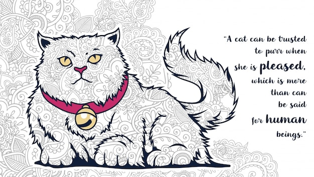 Illustration Of Funny Cartoon Fat Cat Doodle With Quotes In