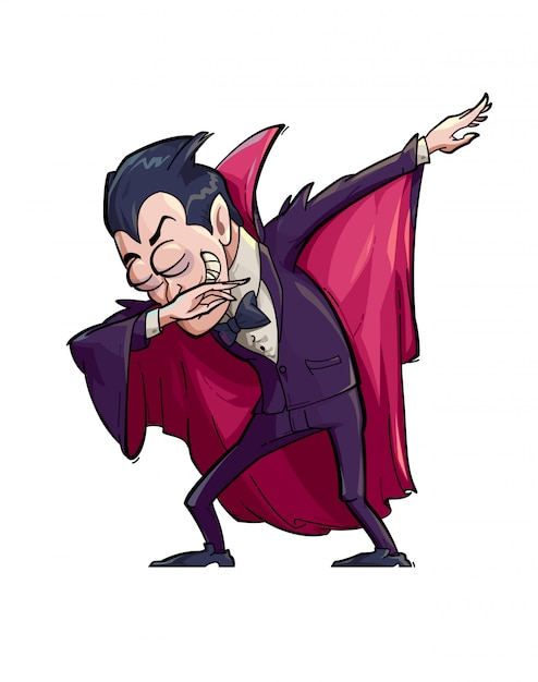 Illustration of a funny vampire doing the dab move. Premium Vector