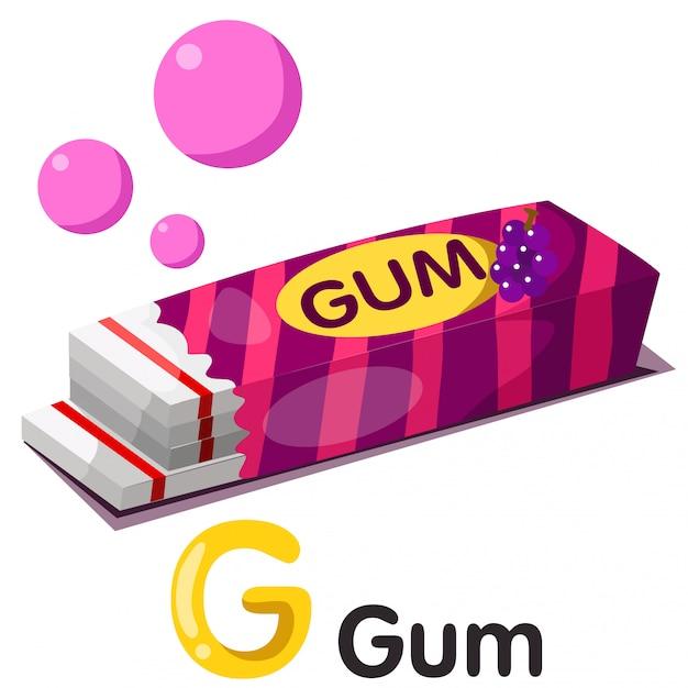Illustration of g font with gum Premium Vector
