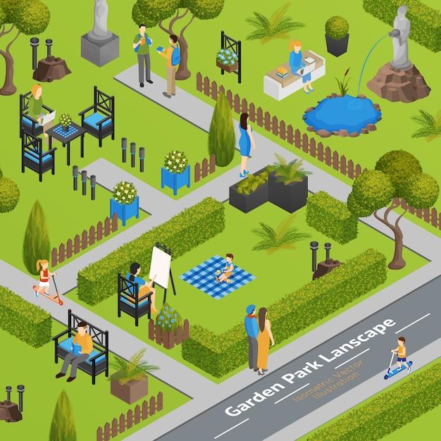 Illustration of garden park landscape Free Vector