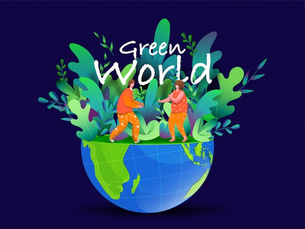 Illustration of gardening man and woman working on half eco globe for green world . Premium Vector