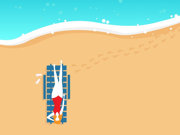 Illustration of girl on beach chair in summer top view vector background Premium Vector