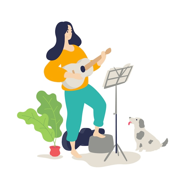 Illustration of a girl playing an acoustic guitar Premium Vector