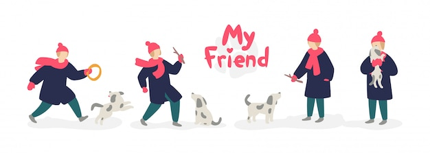 Illustration of a girl playing with a dog. Premium Vector