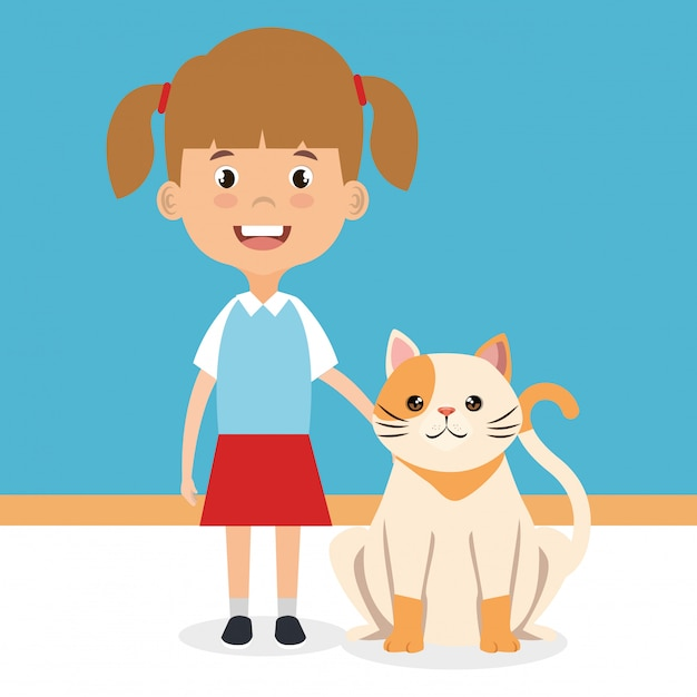 Illustration of girl with cat character Free Vector