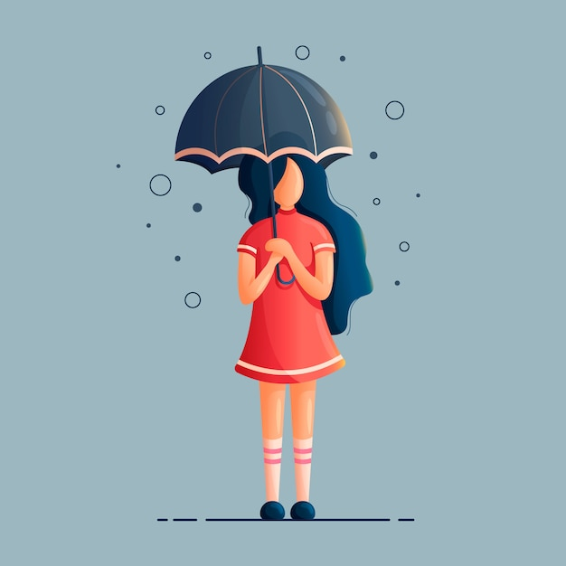 Illustration of a girl with an umbrella under the rain Premium Vector