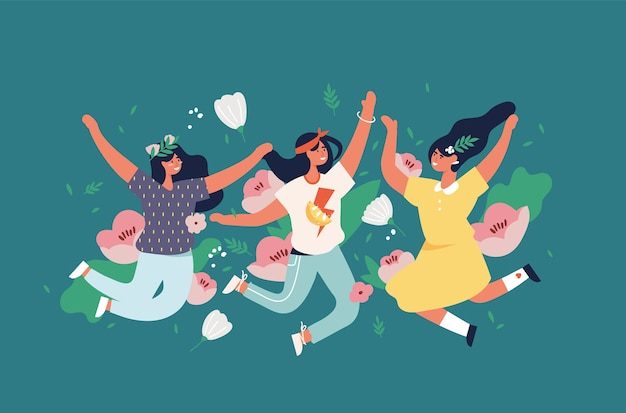 Illustration girls jumping with flowers and blossom, leaves. happy woman enjoying yourself. Premium Vector