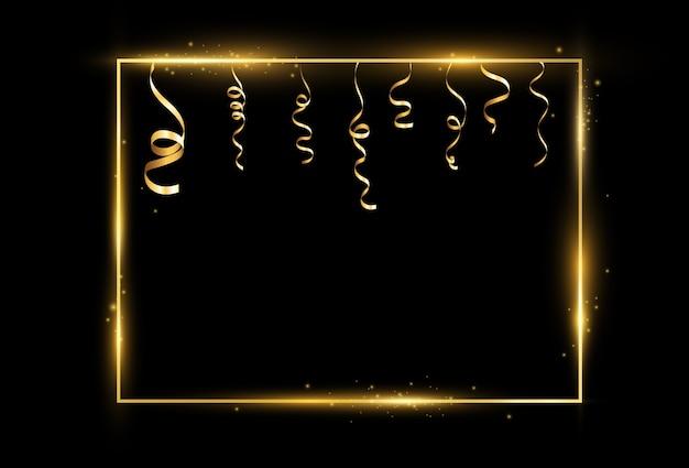 Illustration of a gold frame on a transparent background. Premium Vector