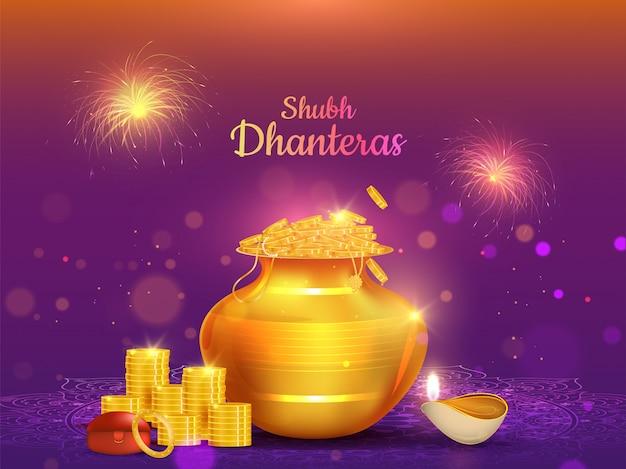 Illustration of golden coin pot and illuminated oil lamp (diya) for shubh dhanteras celebration Premium Vector