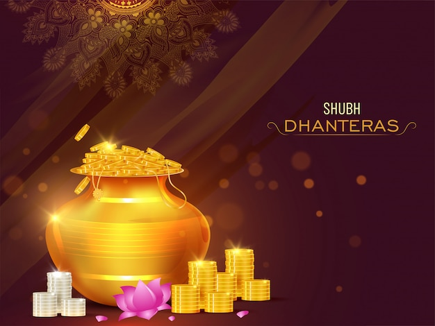 Illustration of golden coins pot with lotus flower on the occasion of shubh (happy) dhanteras celebration concept. Premium Vector