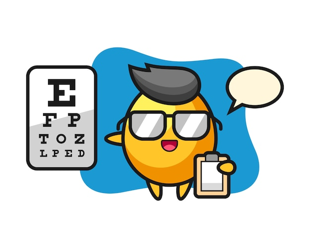 Illustration of golden egg mascot as a ophthalmology, cute style design Premium Vector