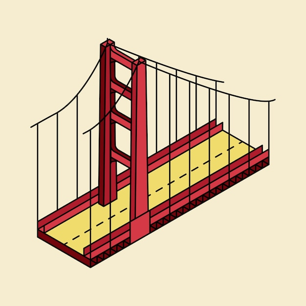 Illustrazione di golden gate bridge san francisco negli sua Vettore gratuito