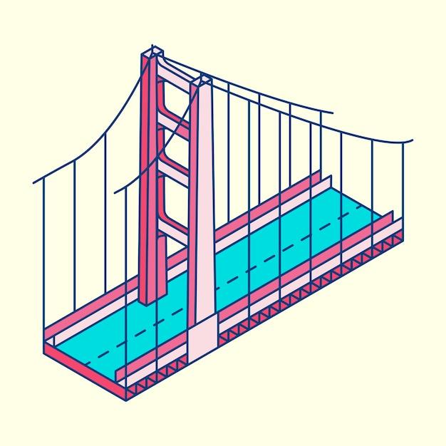 Illustrazione di golden gate bridge san francisco negli sua Vettore gratuito