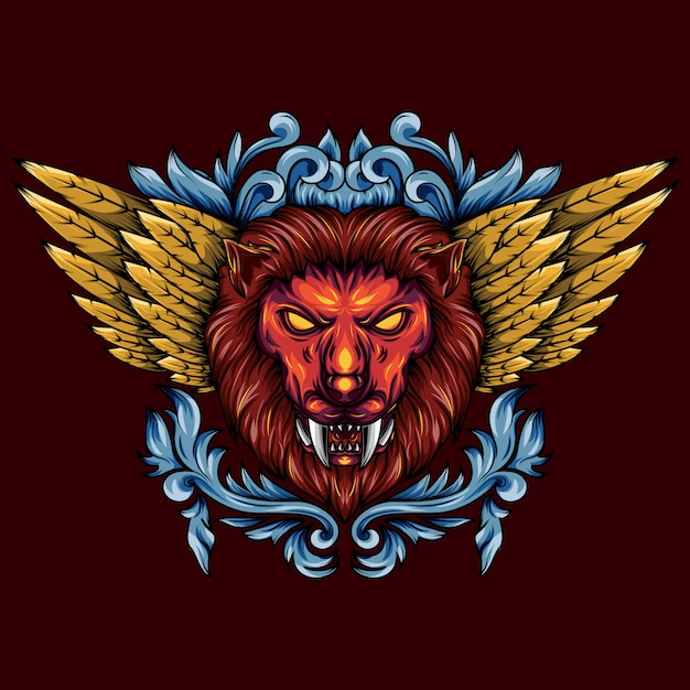 Illustration of a golden winged mythical lion head Premium Vector