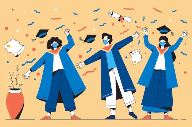 Illustrazione di laureati che indossano maschere mediche alla loro cerimonia Vettore gratuito