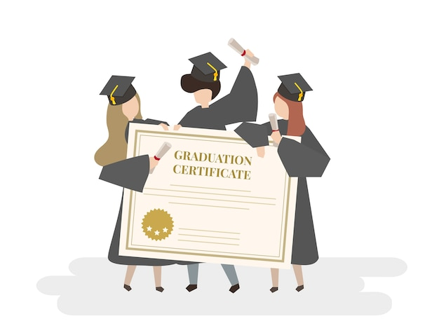 Illustration of graduation certificate Free Vector