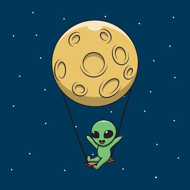 Illustration  graphic of cartoon happy alien swing on the moon. Premium Vector