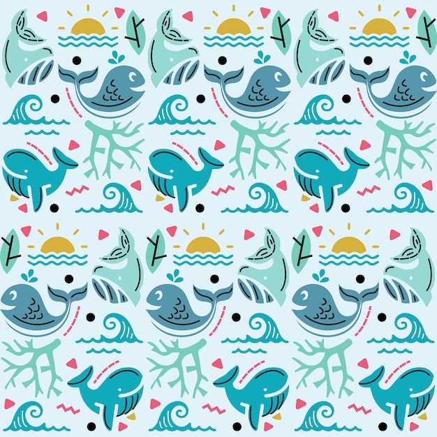 Illustration  graphic of seamless pattern with sea and whale decoration Premium Vector