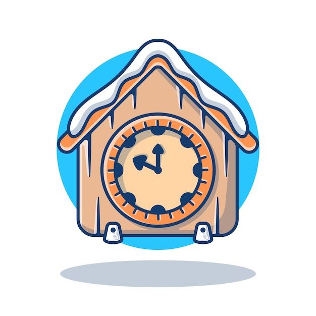 Illustration graphic of vintage clock with snow Premium Vector