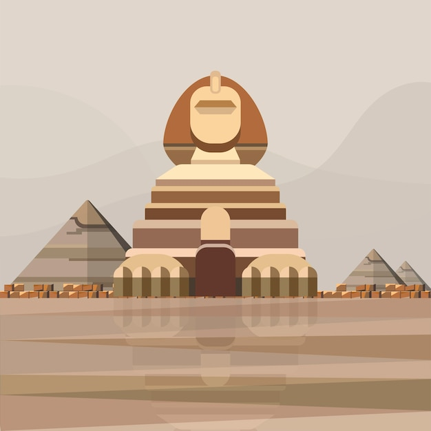 Illustration of great sphinx of giza Free Vector