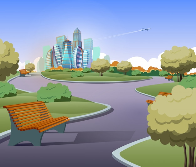 Illustration of green parkland with trees, bushes in cartoon style. lawn with benches Free Vector