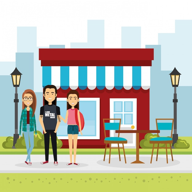 Illustration of group of people outside market Free Vector