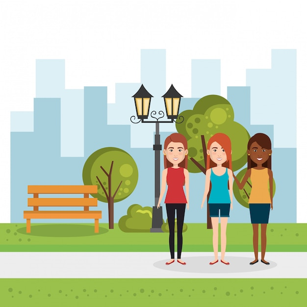 Illustration of group of people in the park Free Vector