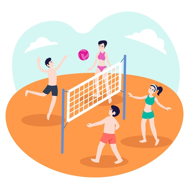 Illustration of a group of teenagers playing volleyball on the beach in the summer Premium Vector