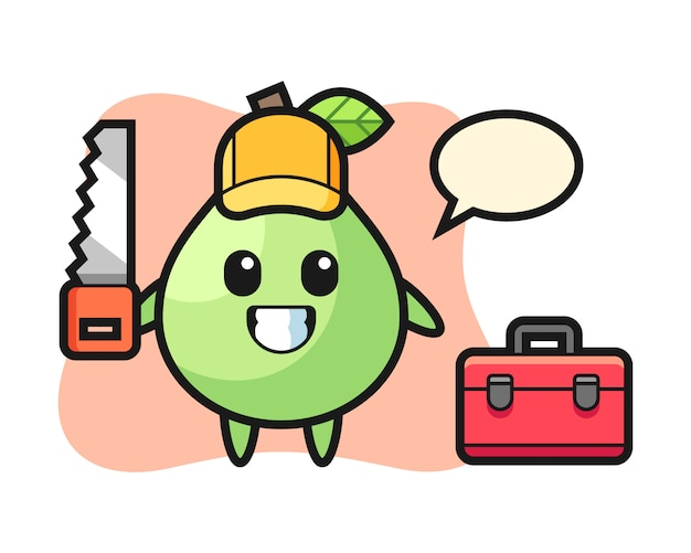 Illustration of guava character as a woodworker, cute style design for t shirt, sticker, logo element Premium Vector